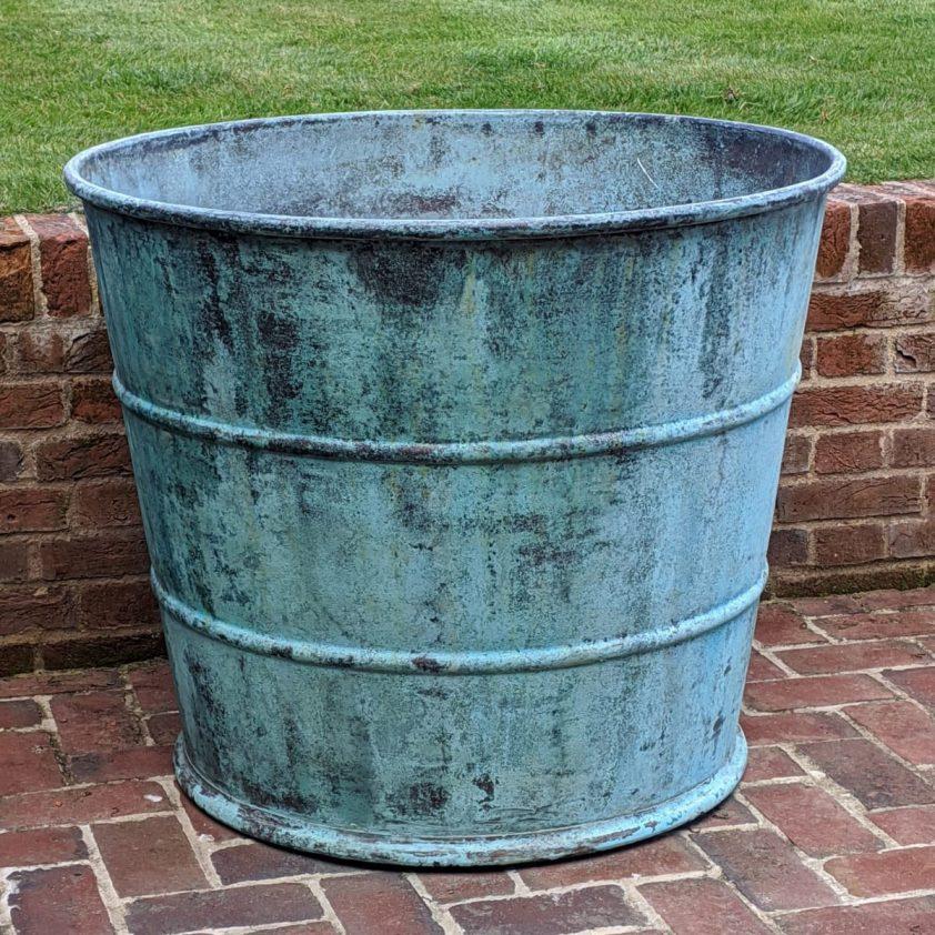 Custom Ribbed Planter Copper Green