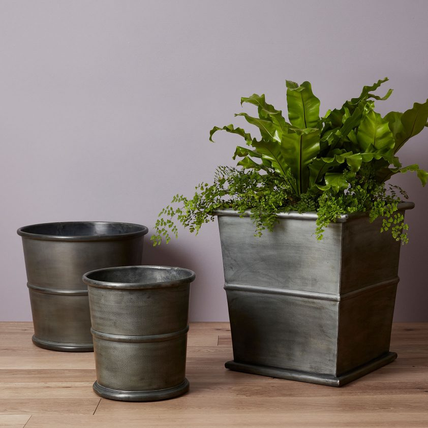 Ribbed Planter – Bronzino on zinc planter boackround on white, zinc garden statues, zinc bowls, zinc furniture, zinc window boxes,