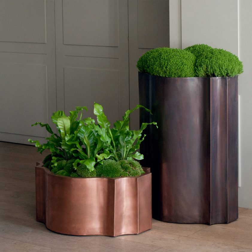 Odalisk 'Nell' Planter, Copper, Natural, and Odalisk 'Satine' Planter in Bronze Finish on Copper