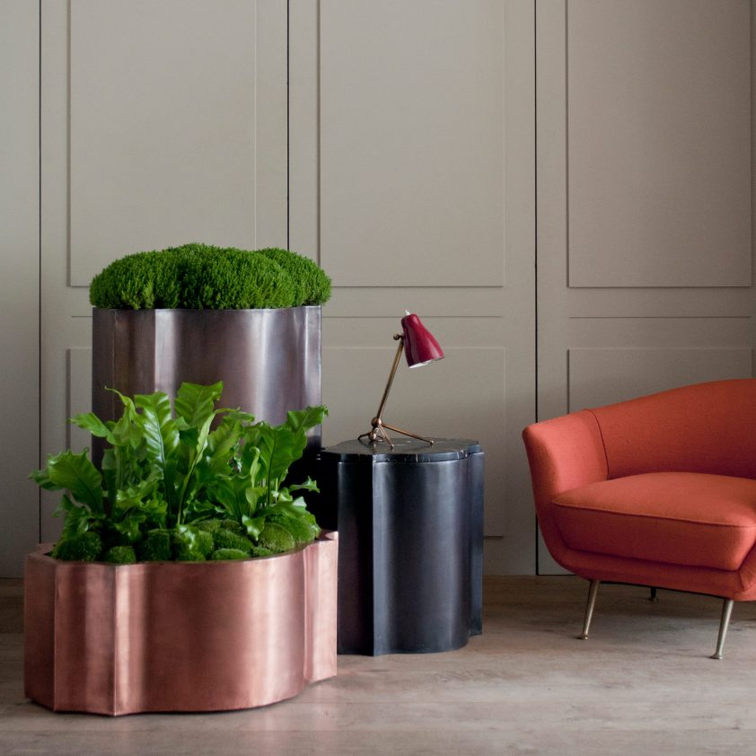 Odalisk 'Nell' Planter, Copper, Natural, Odalisk 'Satine' Planter in Bronze Finish on Copper, and Odalisk 'Zaza' Table, Grey Finish on Copper with Portoro Marble Top