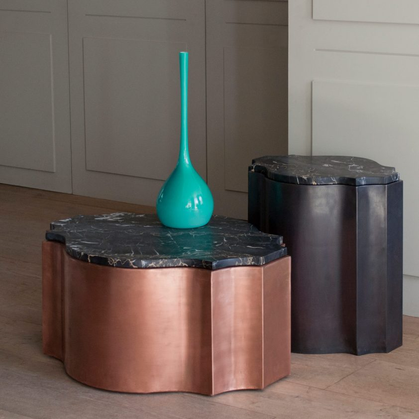 From left: Odalisk 'Nell' Table, Copper, Natural, with Portoro Marble Top, and Odalisk 'Zaza' Table, Grey Finish on Copper with Portoro Marble Top