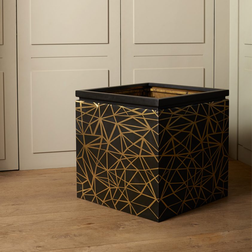 Box in Brass with Bronze Finish Pattern, Matt Lacquer